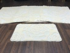 ROMANY WASHABLES 2018/19 SUPER THICK NEW IVORY 4PC SET CREAM NON SLIP MATS/RUGS